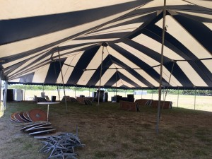 inside a big pole tent