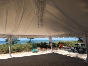 inside a beach wedding tent