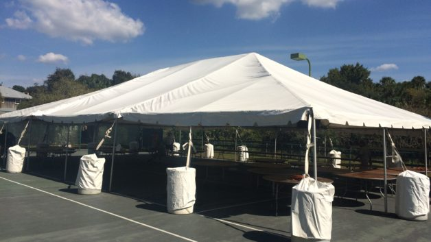 frame tent on a basketball court