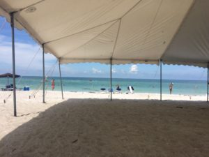 tent giving shade on the beach