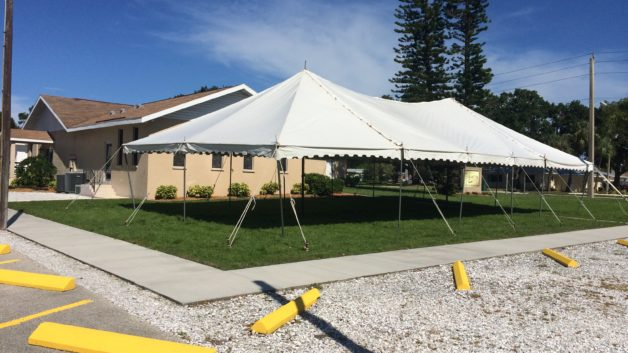 church ground breaking tent event